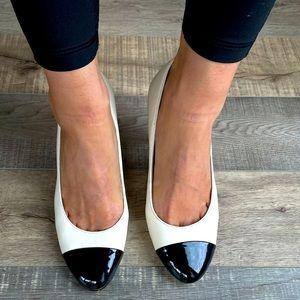 Kate Spade cream leather & black patent heel pumps